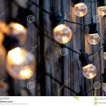 Warm Color Led Light Bulbs On Old Wooden Background In The Garden Copyspace Outdoor Lighting Deciration Concept Stock Photo Image Of Outdoor Summer 124681148