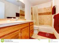 Warm Colors Bathroom With Red Towels And Rug Royalty Free ...