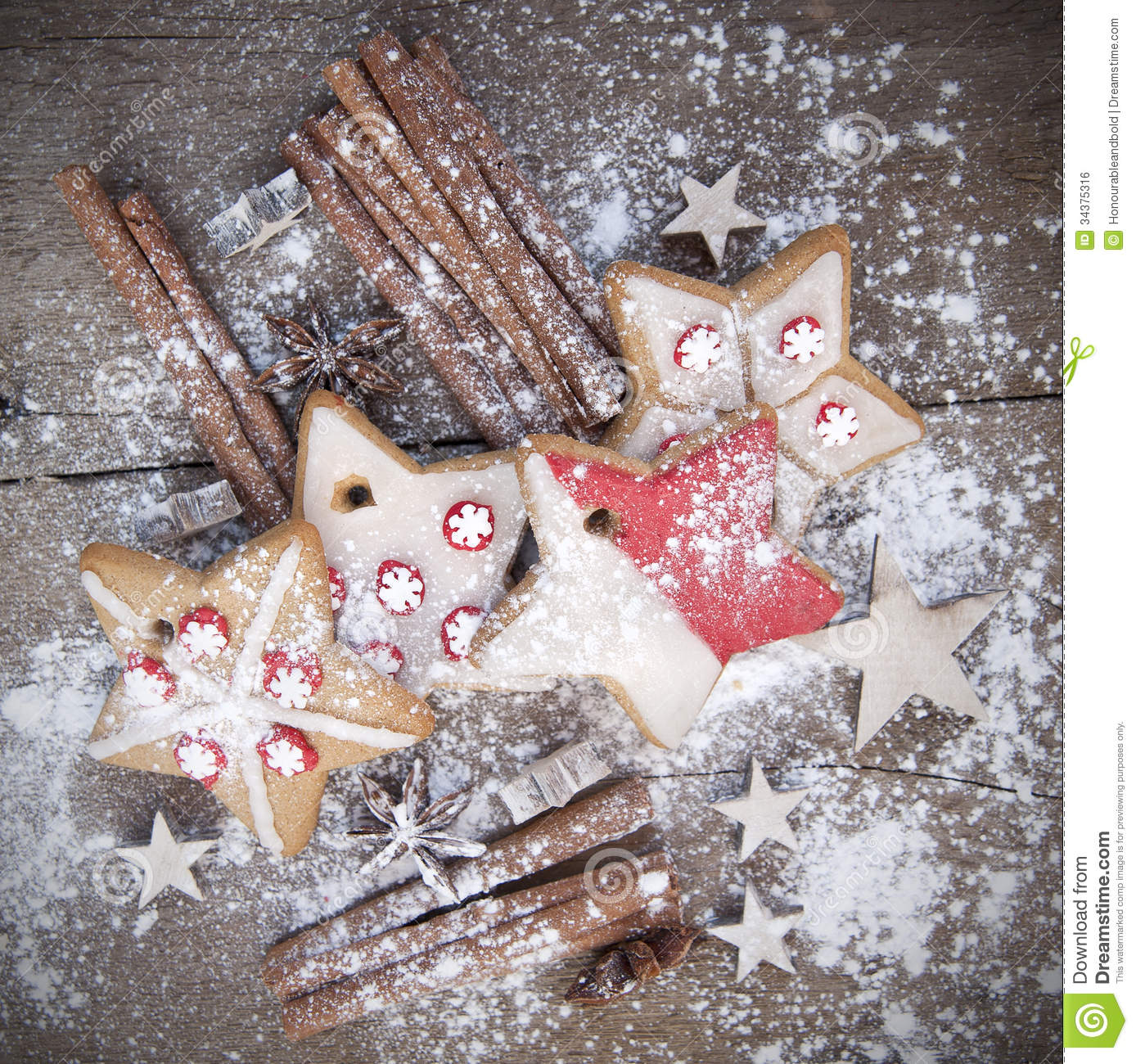 Warm Image Of Christmas Foods On Rustic Style Wooden
