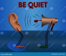 Warning Quiet. Vector Cartoon. Stock