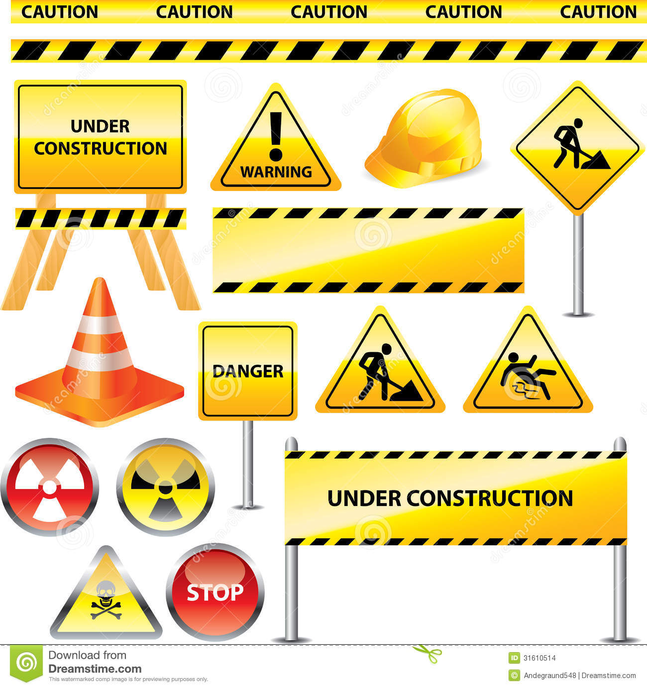 Warning And Under Construction Signs Stock Vector