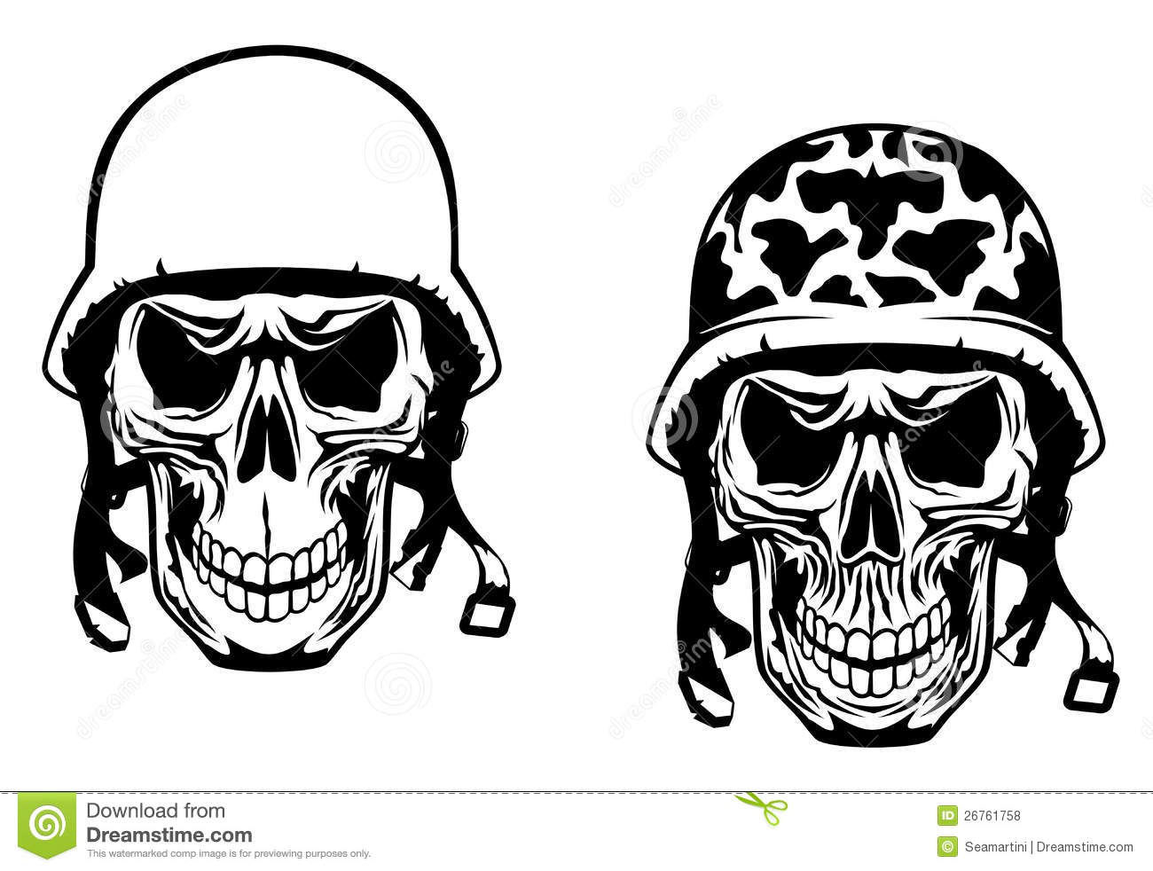 Warrior And Pilot Skulls Stock Vector Image Of Aggression