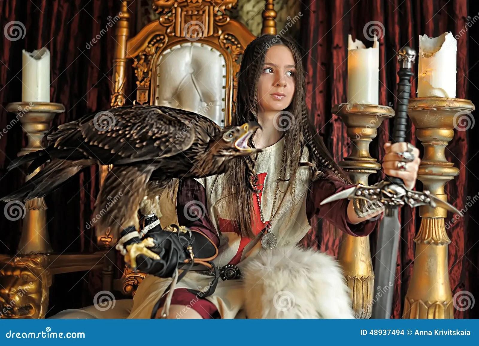 Warrior Princess On The Throne Stock Photo  Image 48937494