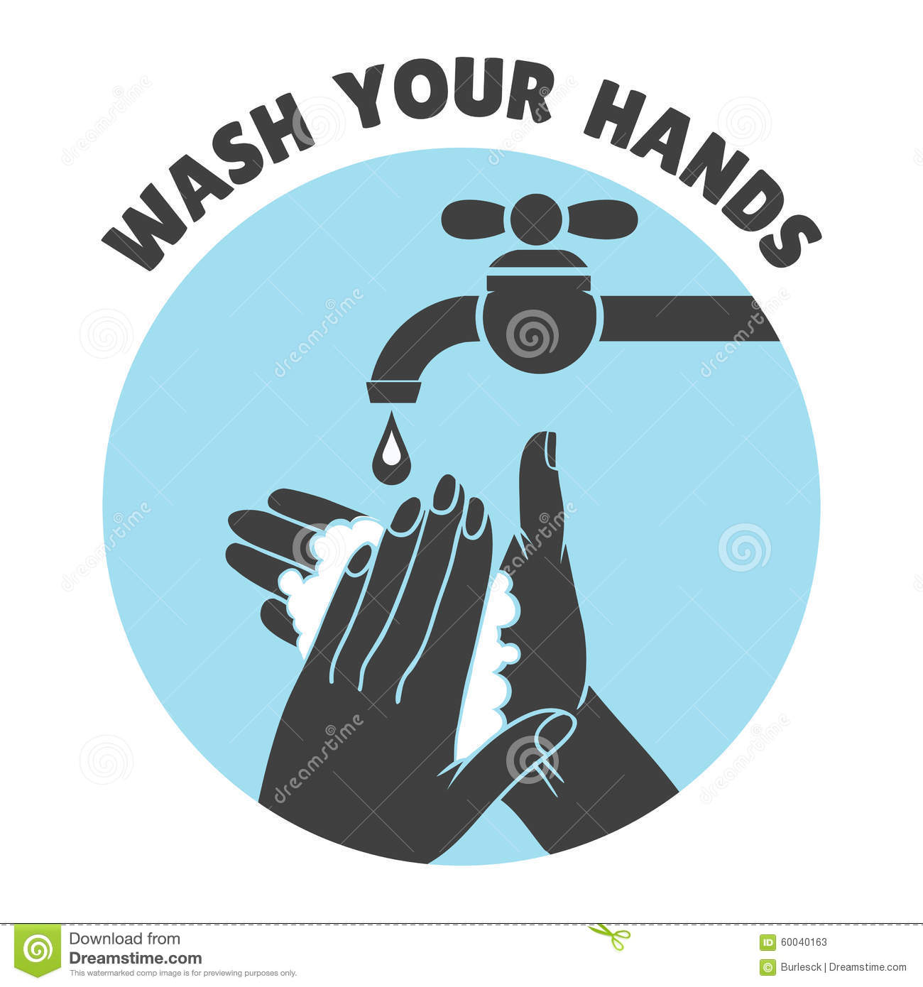 Wash Your Hands Or Safe Hand Washing Vector Symbol Stock