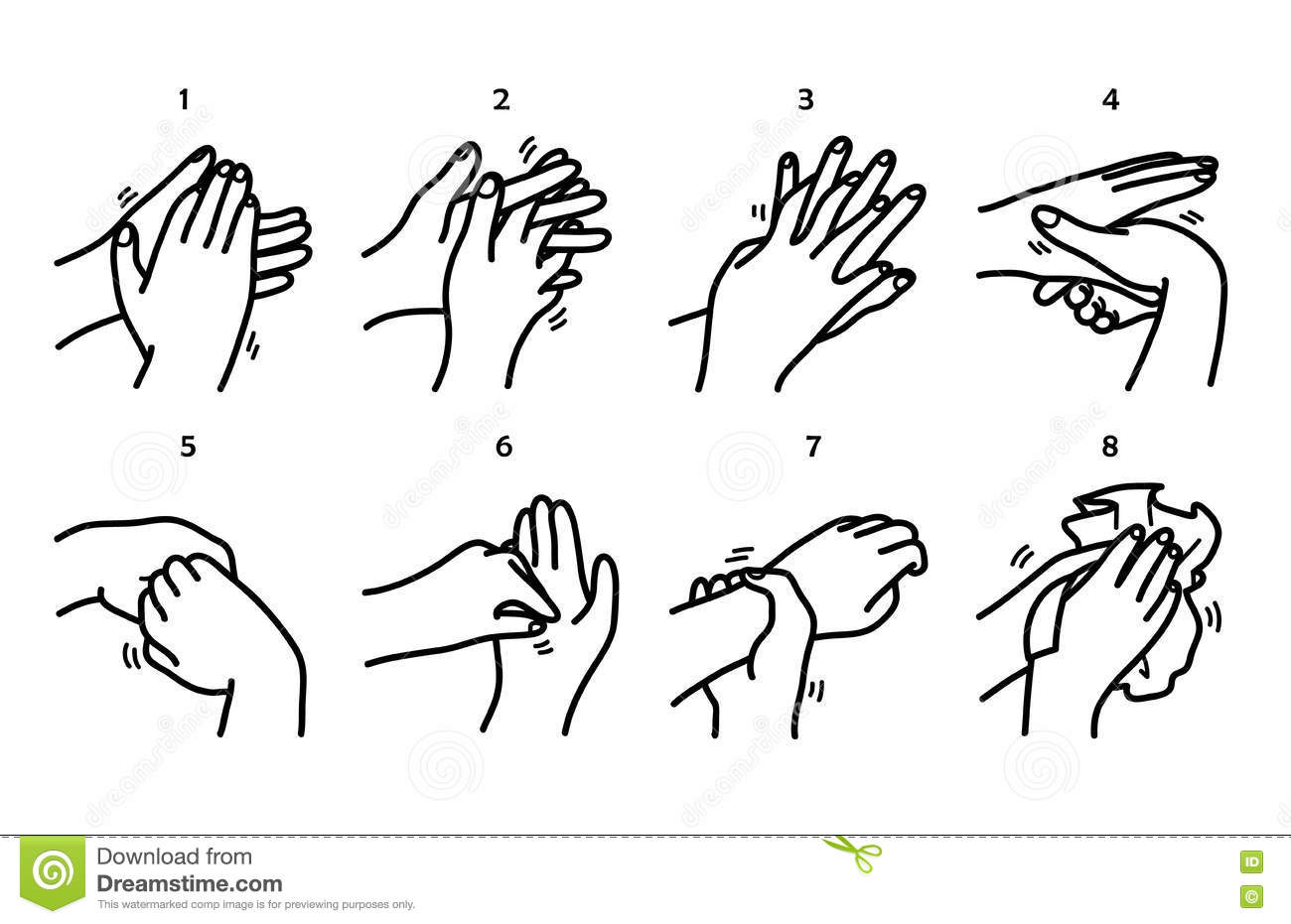 Washing Hands Step By Step Method Stock Vector
