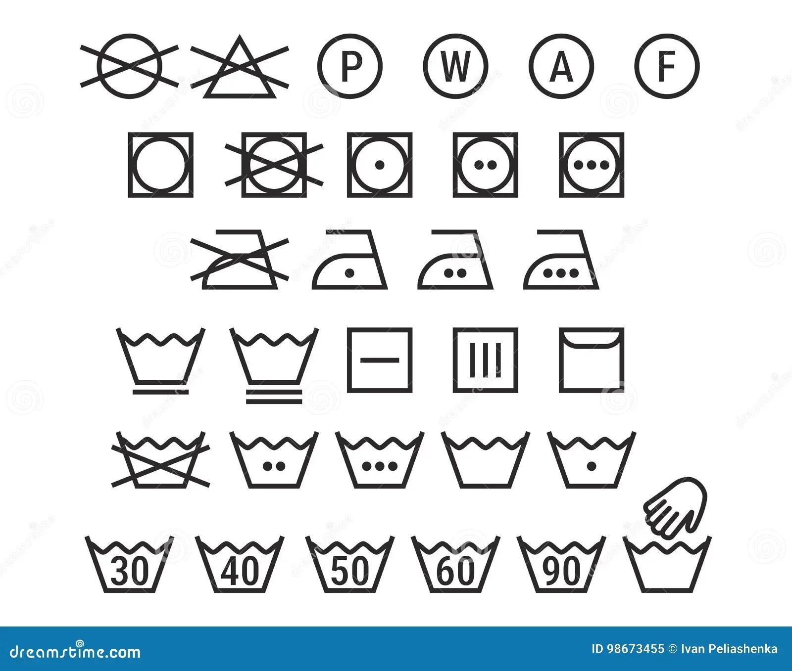 Washing Symbols Cartoon Vector
