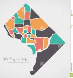 washington dc map with neighborhoods and modern round shapes [ 1306 x 1300 Pixel ]