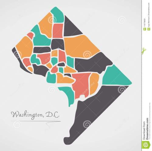 small resolution of washington dc map with neighborhoods and modern round shapes