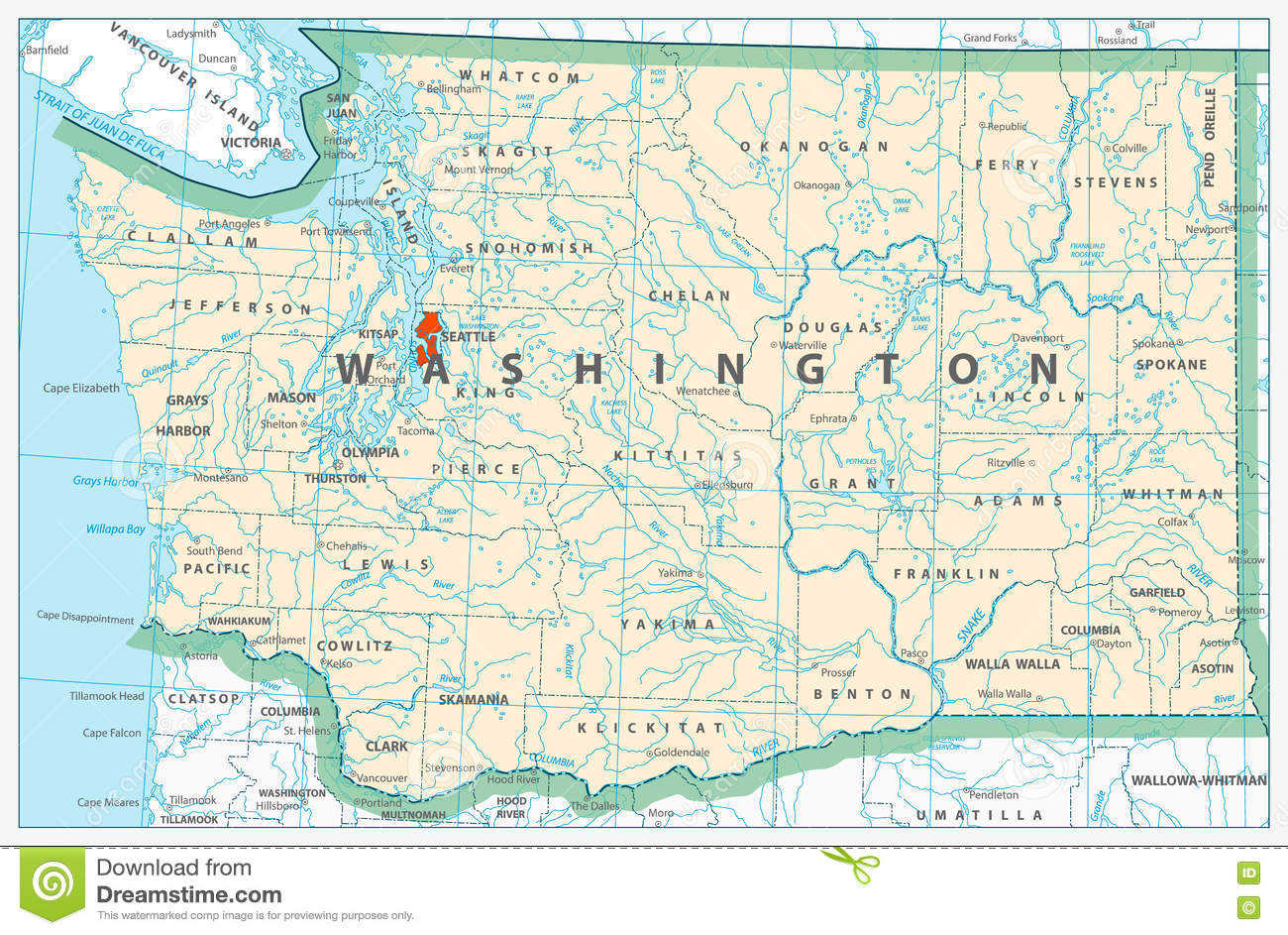 Washington State Detailed Map Stock Vector