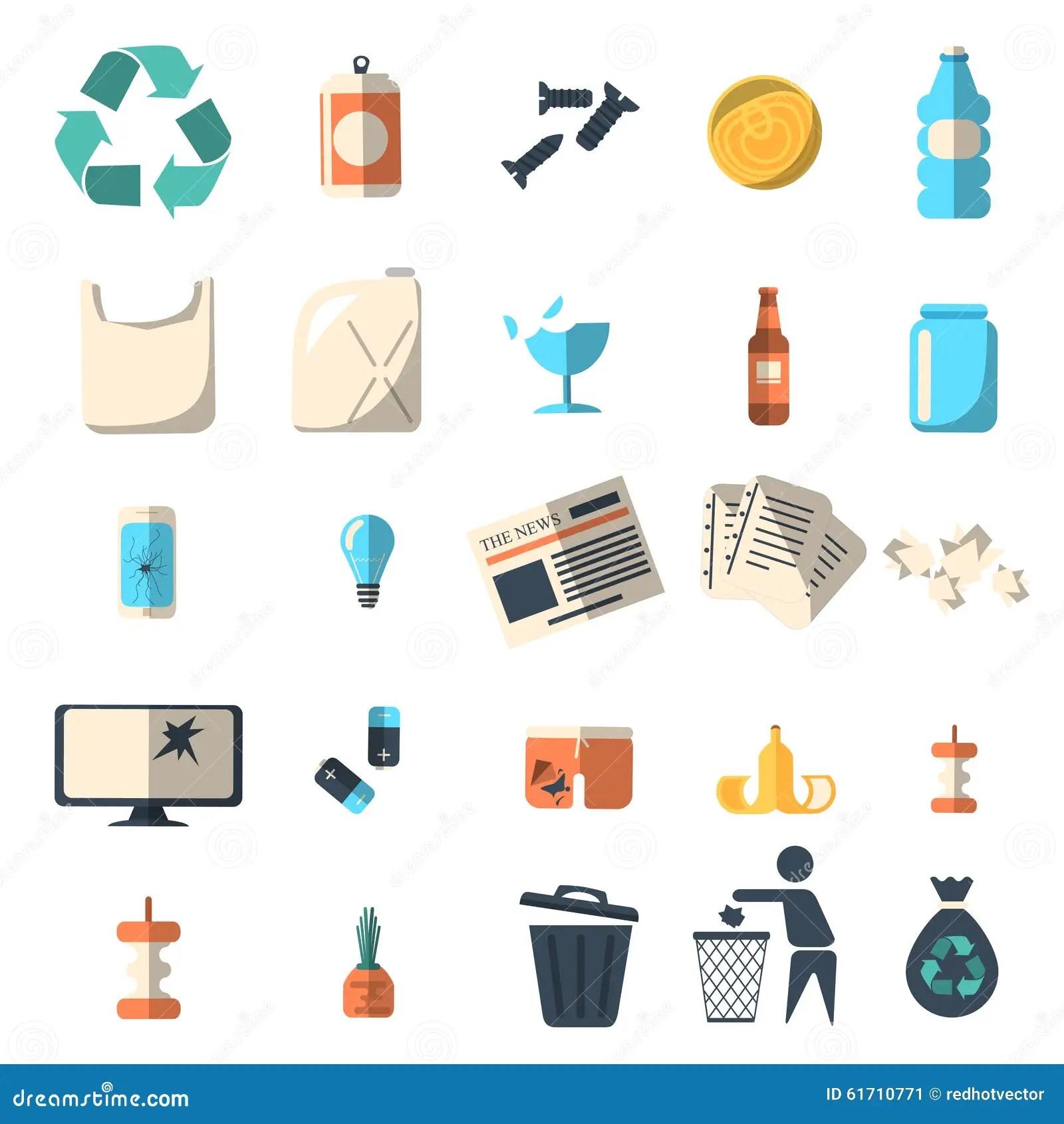 Waste Sorting Of Garbage Types Set Vector Cartoon Vector