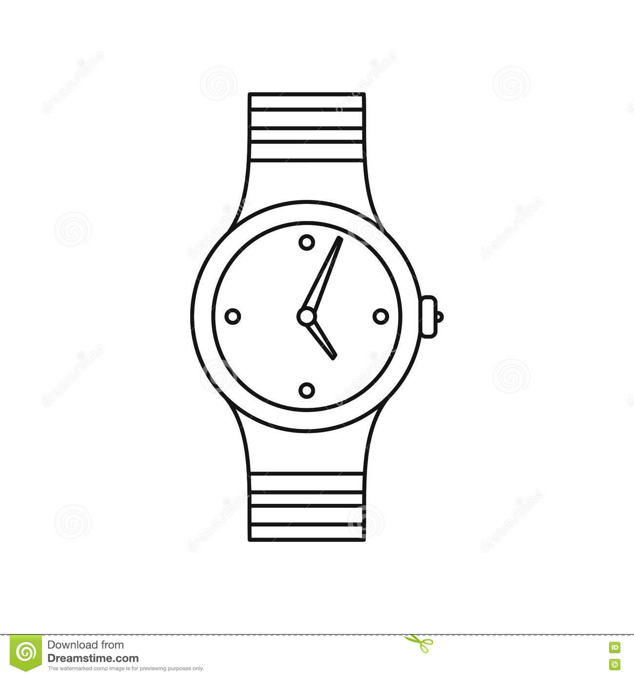Watch icon, outline style stock vector. Image of hand