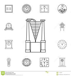 water clock line icon clock icon premium quality graphic design signs symbols collection simple icon for websites web design mobile app on white  [ 1300 x 1390 Pixel ]