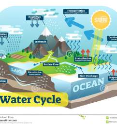 water cycle graphic scheme vector isometric illustration  [ 1300 x 1094 Pixel ]
