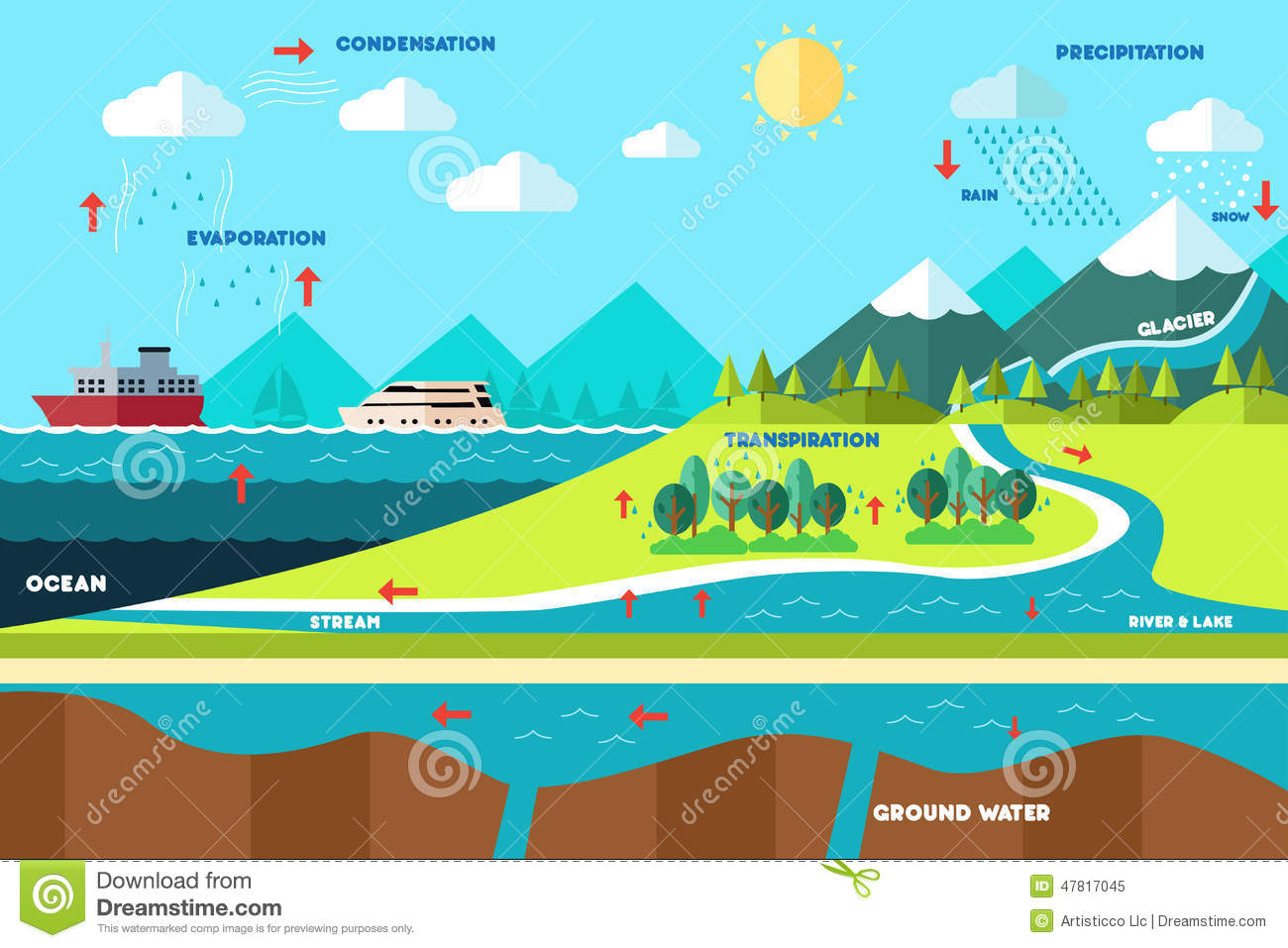 Water Cycle Illustration Stock Vector Illustration Of