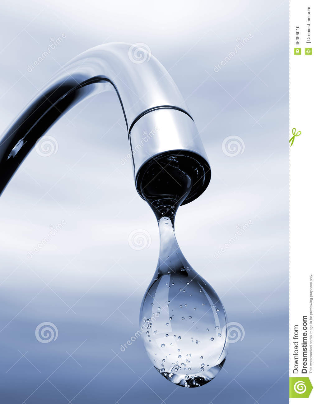 Water Drop Coming Out Of Tap Stock Illustration