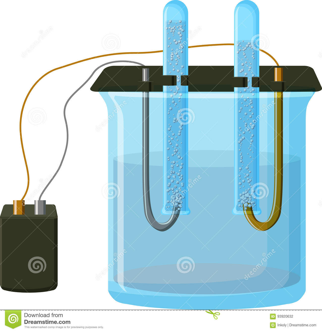 Water Electrolysis Process Stock Vector Illustration Of