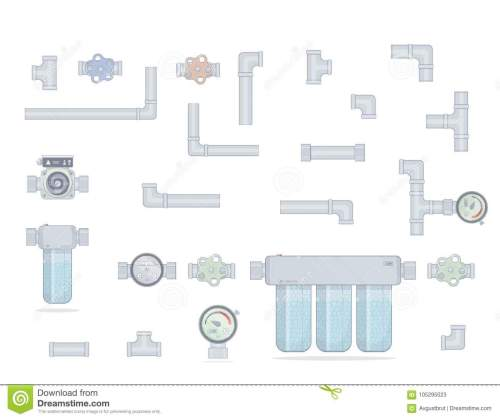 small resolution of water filter three modules cleaning set pipes water meter tap and pump