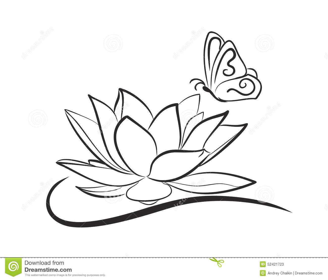 Water Lotus With A Butterfly Stock Vector