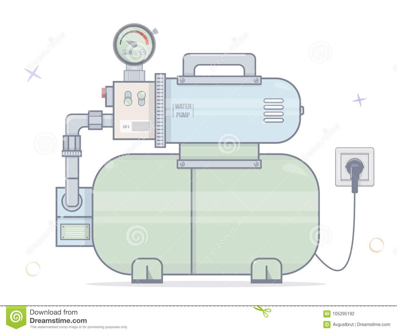 hight resolution of water pump for online store of plumbing cartoon style vector on white background