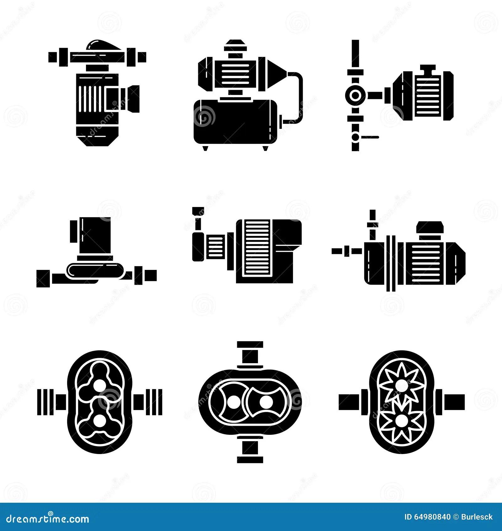 Water Pump Vector Black Icons Sets Stock Vector