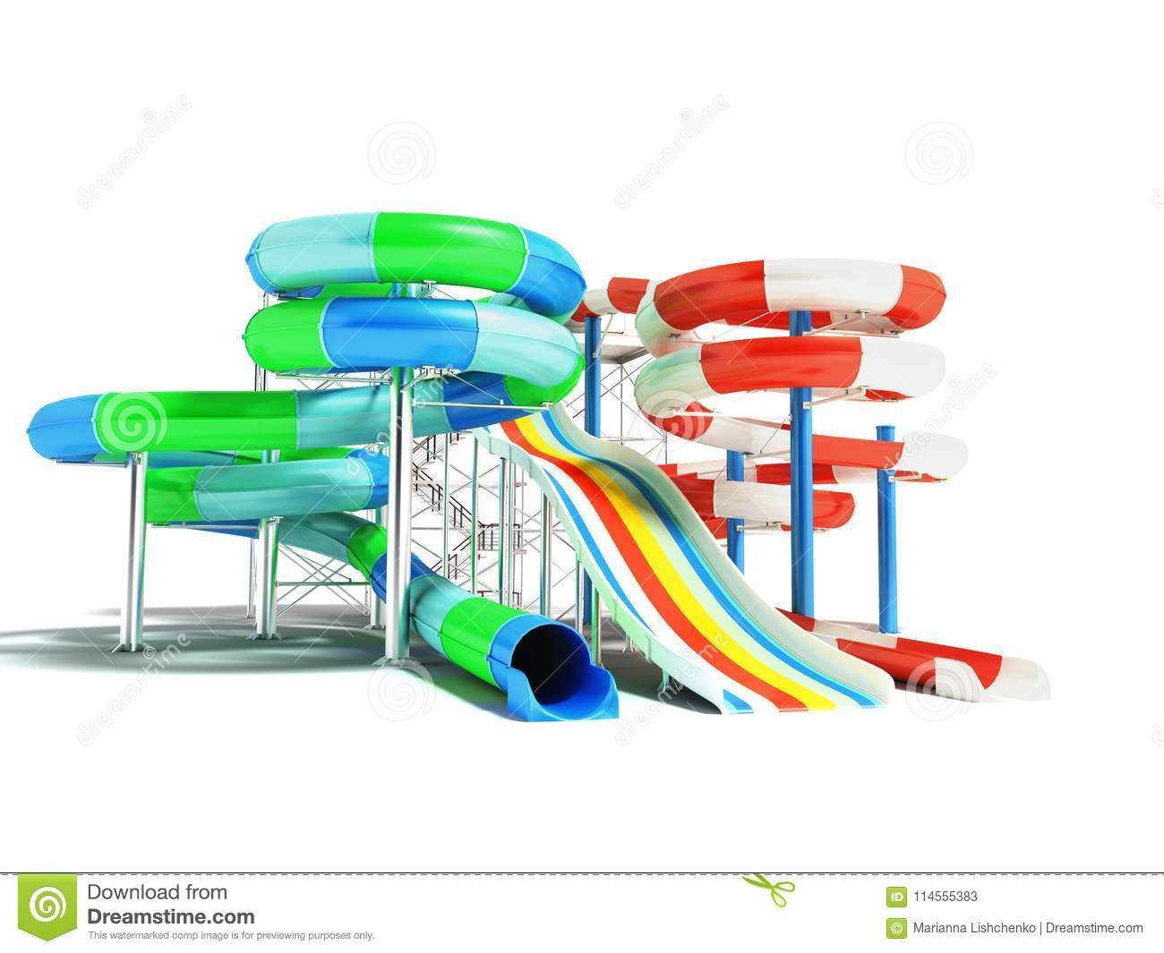 hight resolution of water attractions with spring slides and a straight hill on the