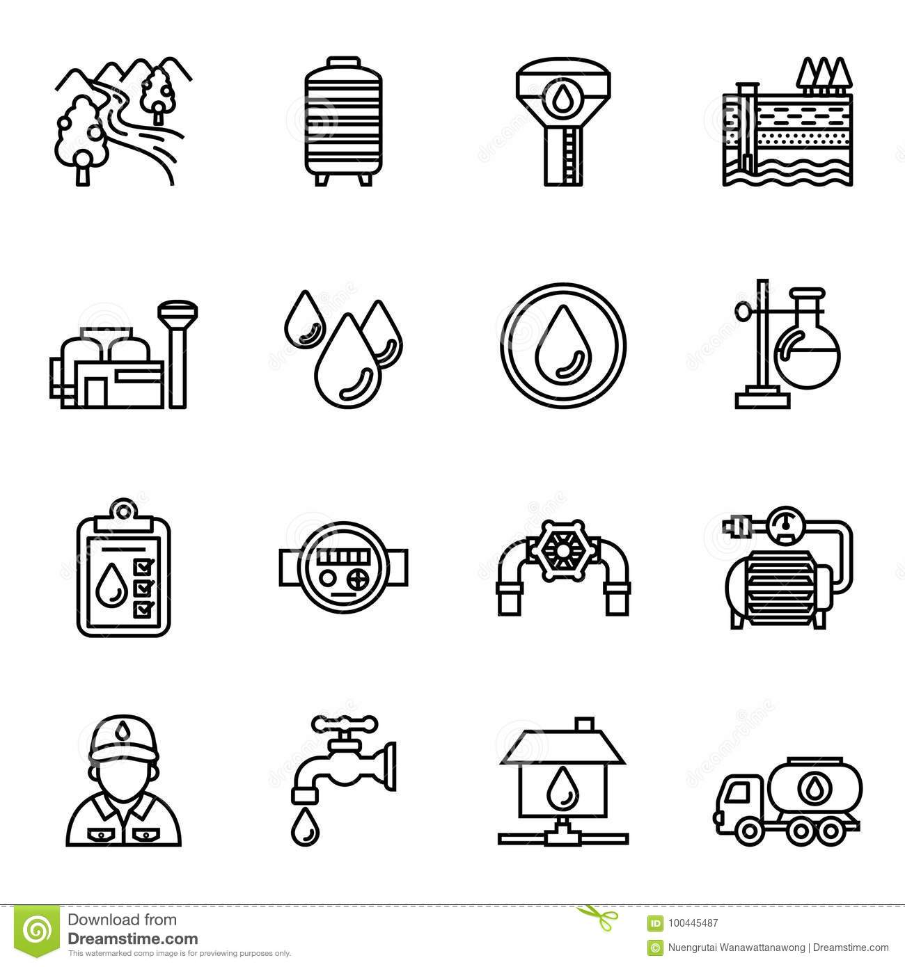 Set Of Water Filter In Black Silhouette Icon Cartoon