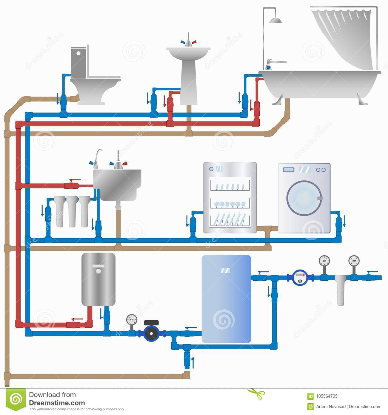 Water Supply And Sewerage System In The House Stock Vector