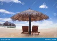 Water Villa With Umbrella And Beach Chair .maldives Stock ...