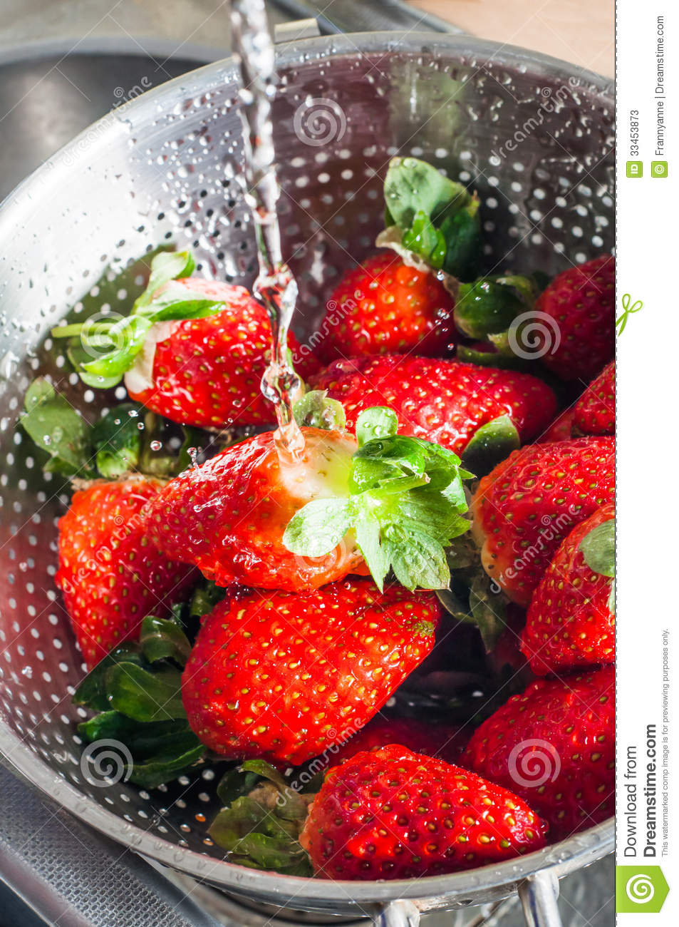 Water Washing Over Strawberries Stock Photos  Image 33453873