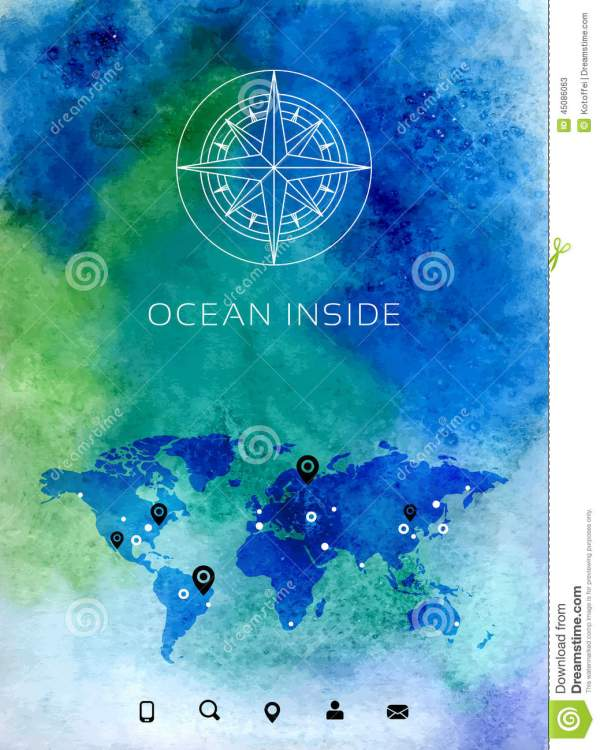 Watercolor Compass Map Background - Year of Clean Water