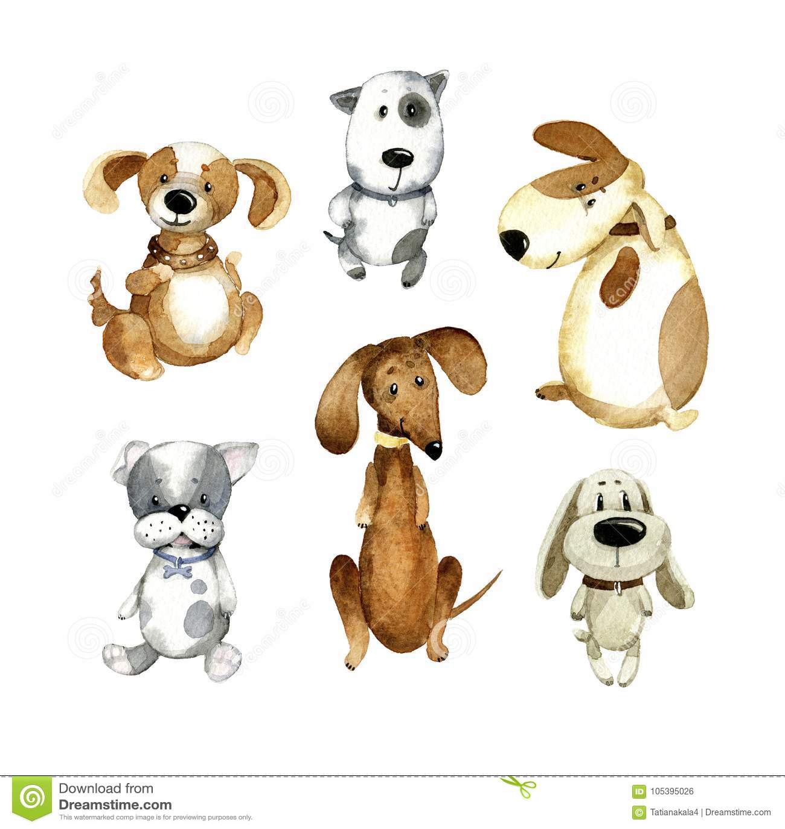 Watercolor Cartoon Illustration Set Of Cute Cartoon Dogs Stock Illustration Illustration Of Background Dogs 105395026