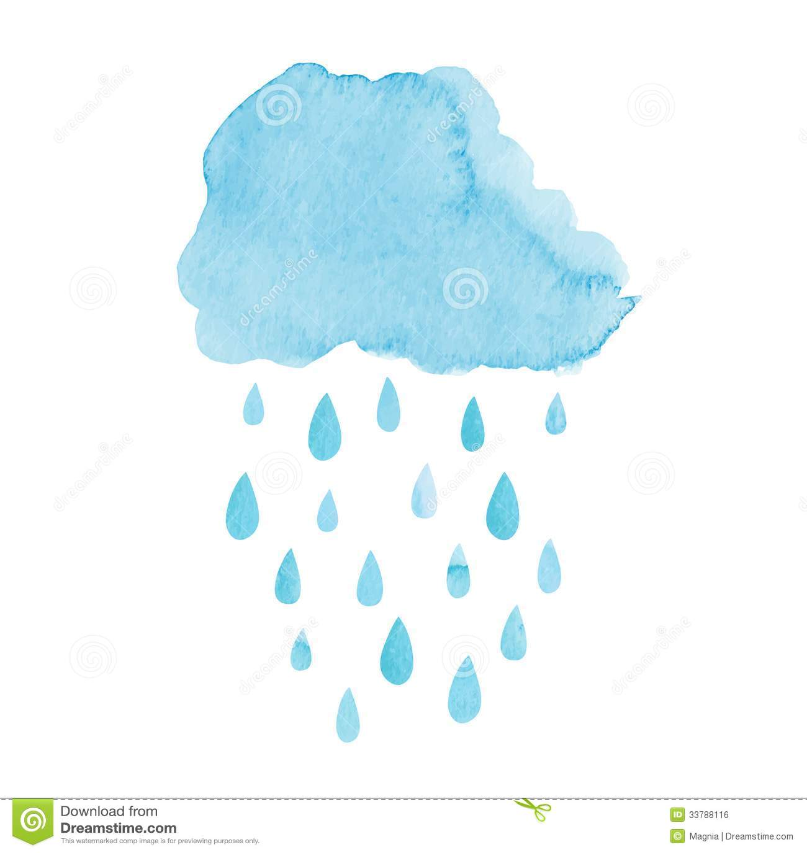 Watercolor Cloud Stock Vector Illustration Of Hand Drop