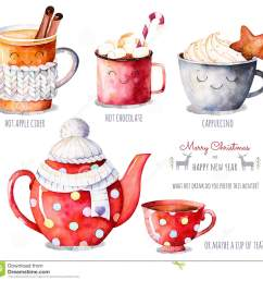 watercolor collection with a choice of hot drinks apple cider tea chocolate cappuccino handpainted watercolor clipart what hot drink do you prefer this  [ 1300 x 1251 Pixel ]