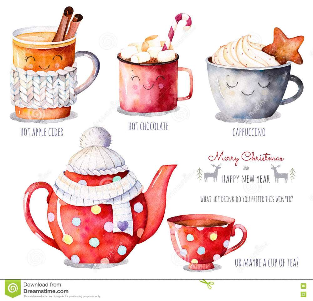 medium resolution of watercolor collection with a choice of hot drinks apple cider tea chocolate cappuccino handpainted watercolor clipart what hot drink do you prefer this