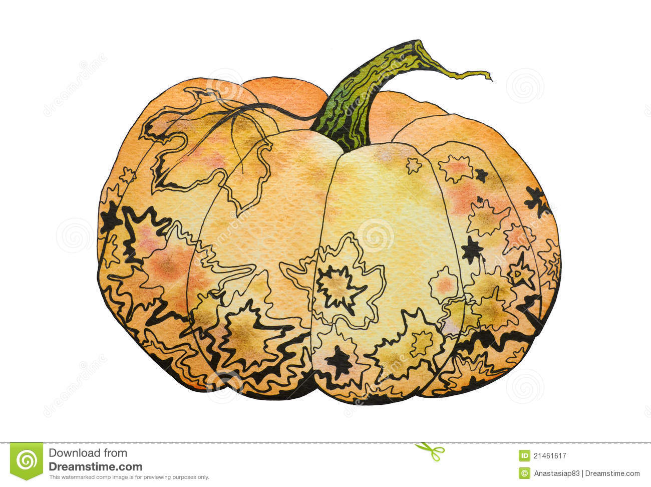 Fall White Pumpkins Wallpaper Watercolor Decorative Pumpkin Royalty Free Stock