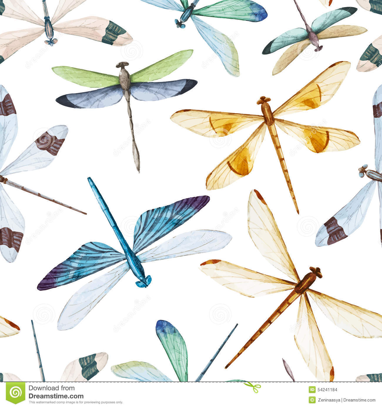 watercolor dragonflies pattern stock