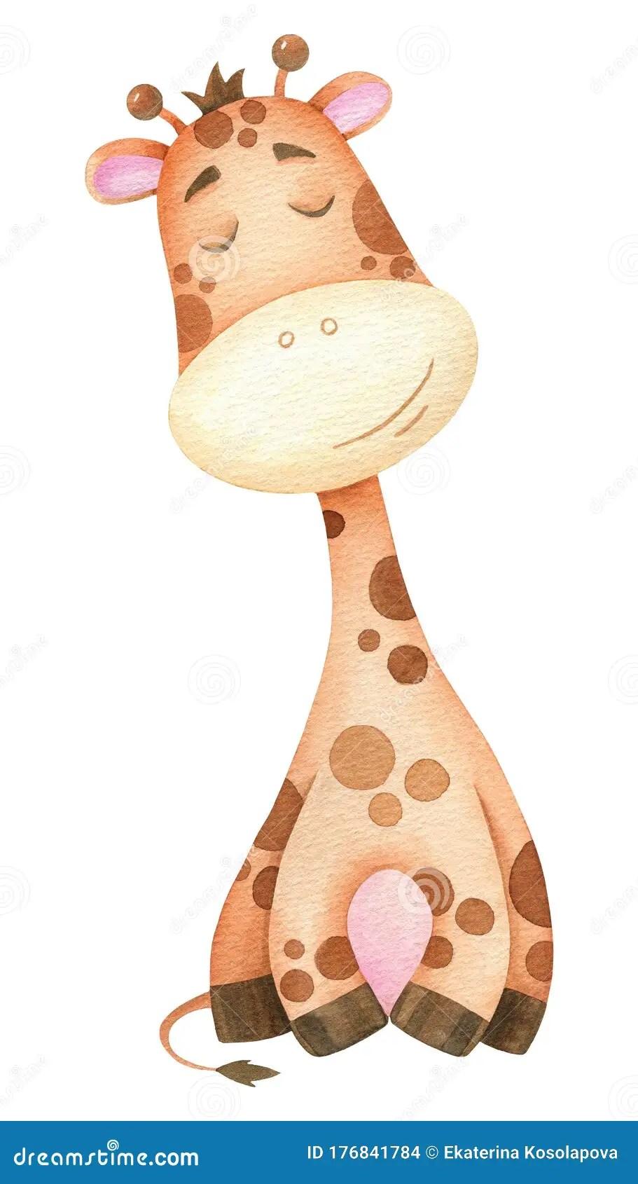 Cute Baby Giraffe Drawing : giraffe, drawing, Watercolor, Drawing, Illustration, Cartoon, Giraffe, Stock, Wild,, Young:, 176841784