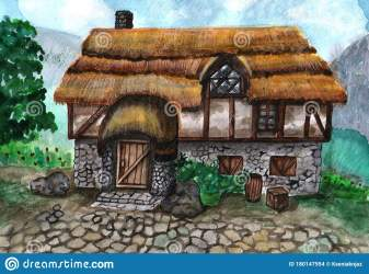 Watercolor Drawing Old House Fantasy Village House Stock Photo Image of forest light: 180147954