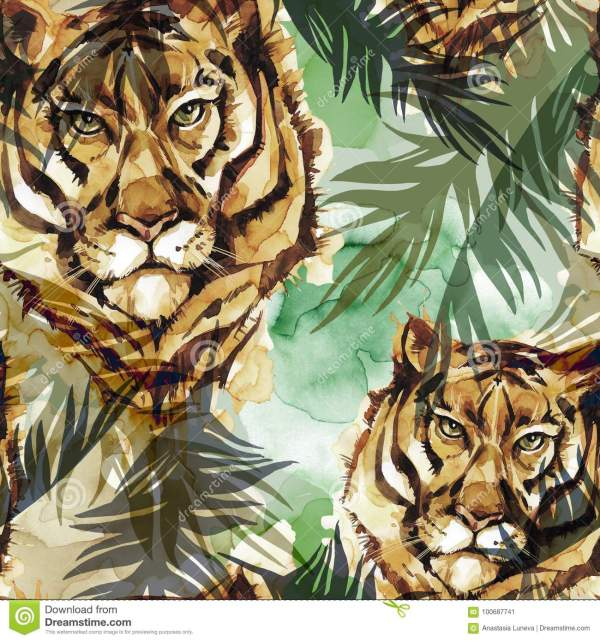 Watercolor Exotic Seamless Pattern. Tigers With Colorful