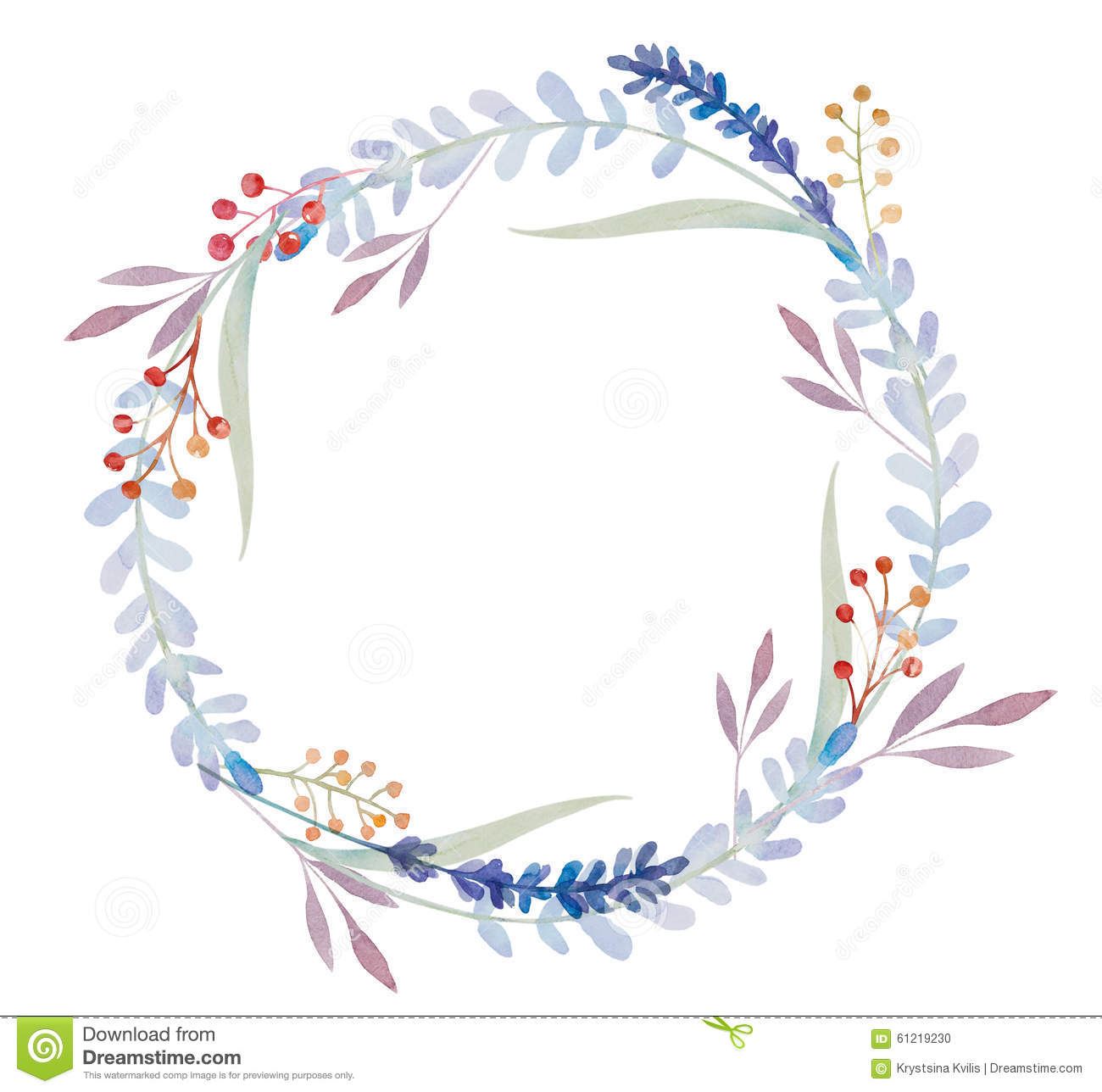 Watercolor Floral Frame Flowers In Wreath Stock