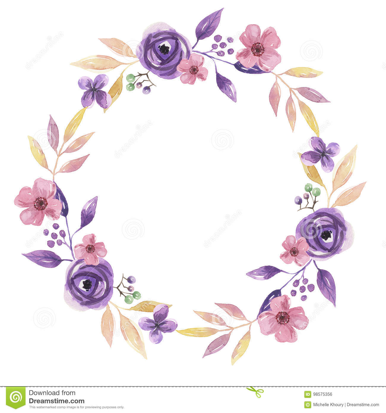 Watercolor Flower Hand Painted Garland Delicate Pink