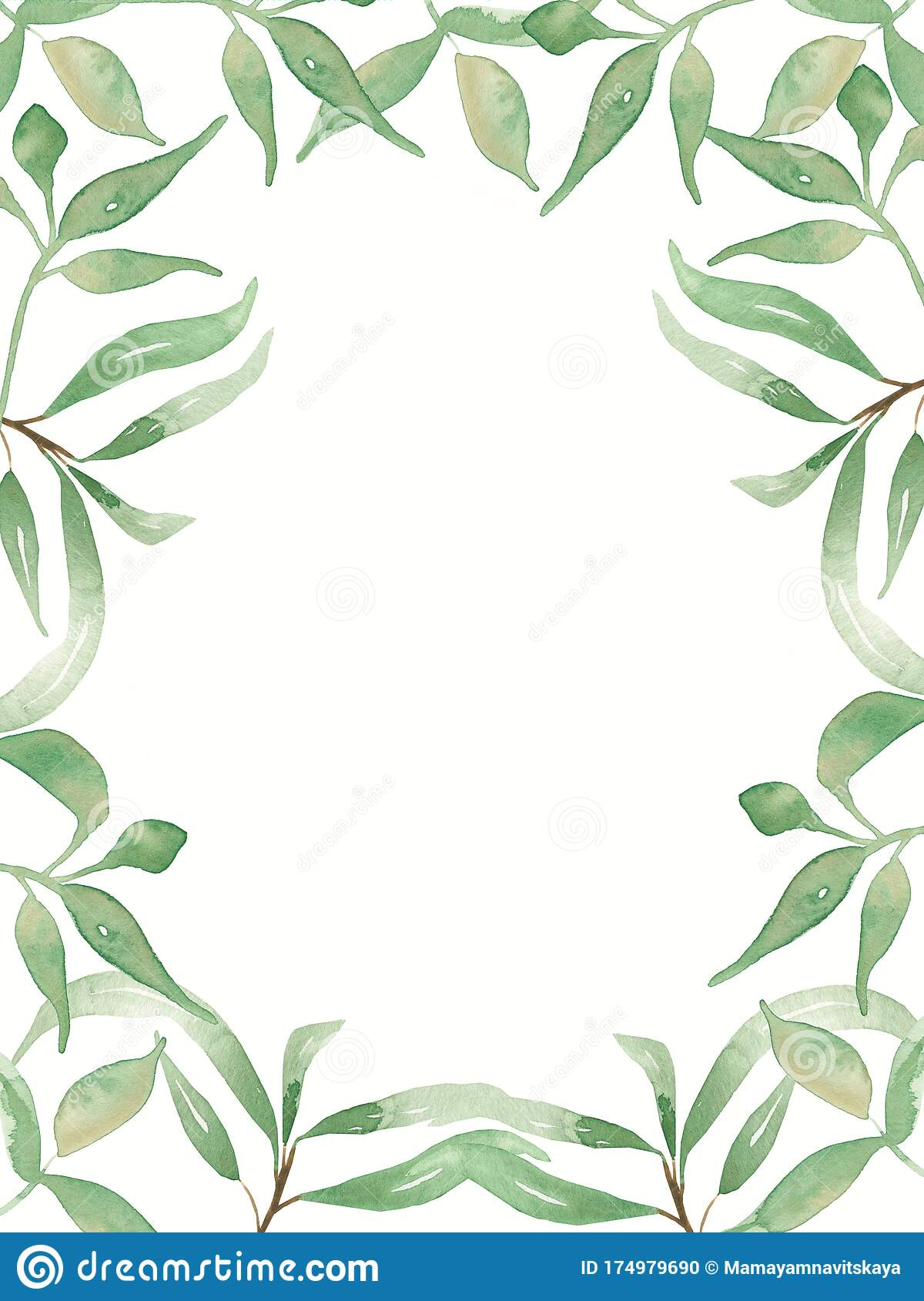 https www dreamstime com watercolor green leaves illustration card greenery wedding invitation cards clipart save date foliage modern frame image174979690