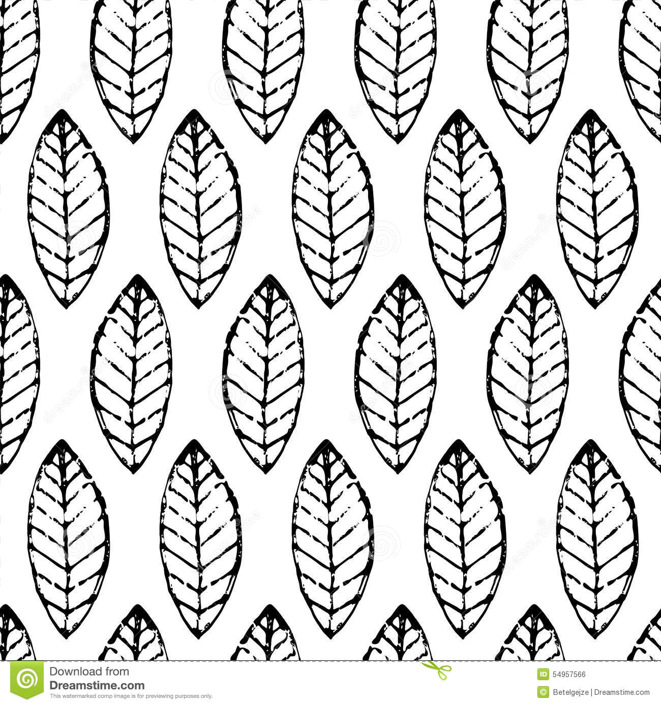 Watercolor Hand Drawn Vector Leaf Seamless Pattern