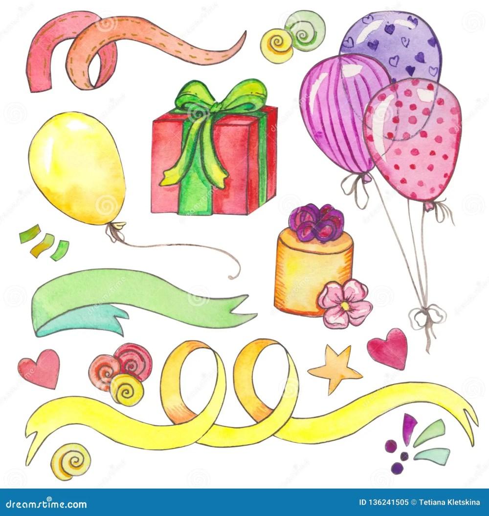 medium resolution of watercolor happy birthday party clip art set