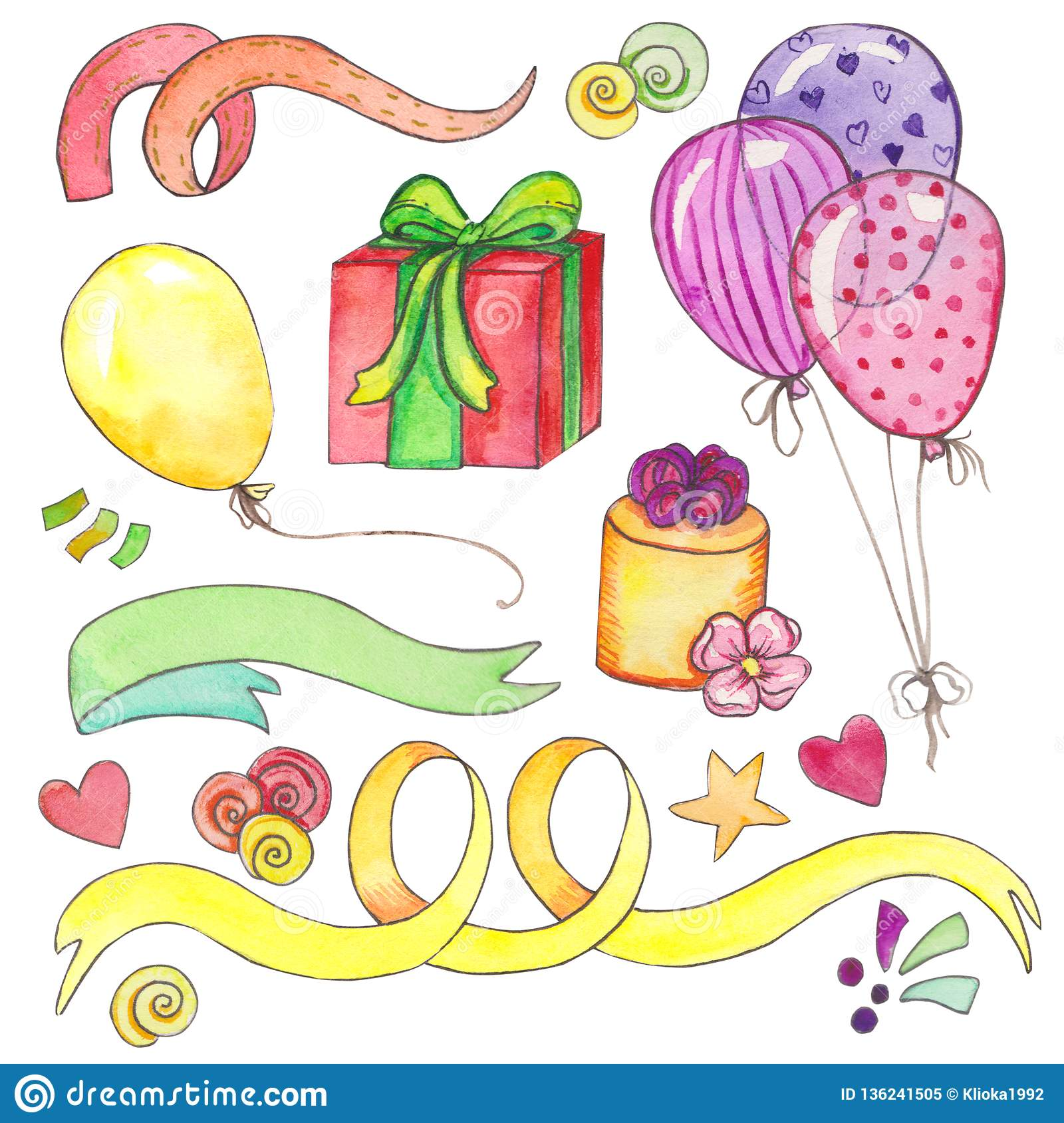 hight resolution of watercolor happy birthday party clip art set