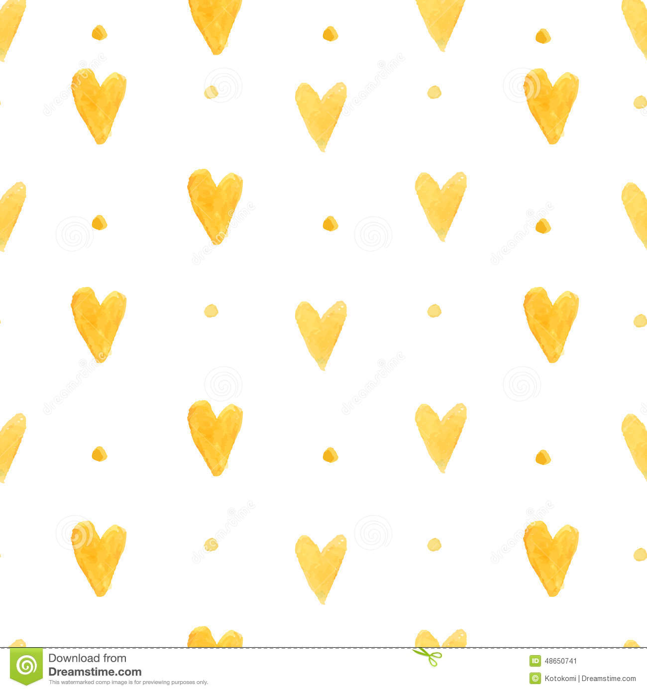 Watercolor Hearts Background Seamless Pattern With Hand