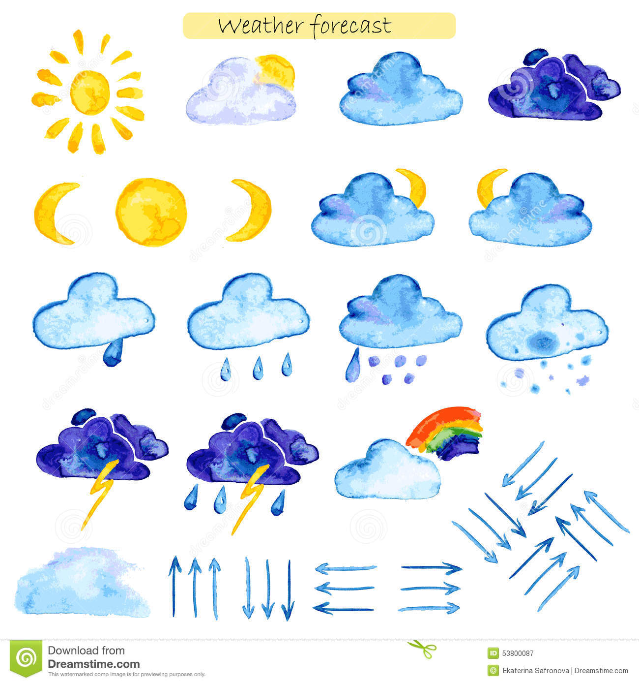 hight resolution of watercolor icons weather forecast