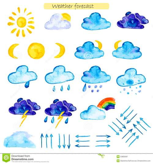 small resolution of watercolor icons weather forecast