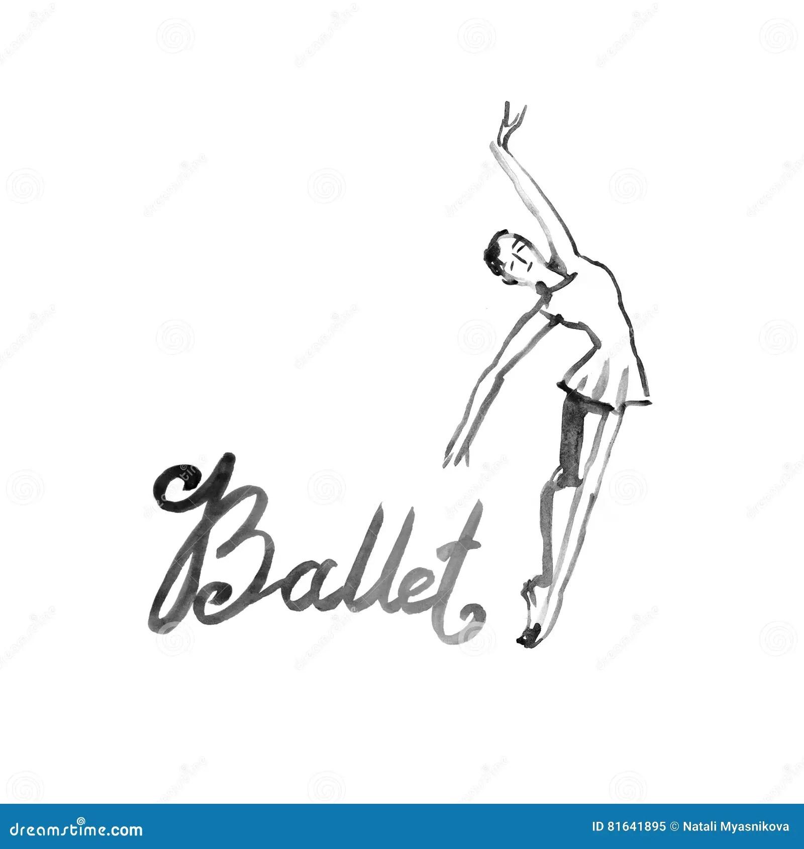 Watercolor Illustration Ballerina Icon In Dance. Design
