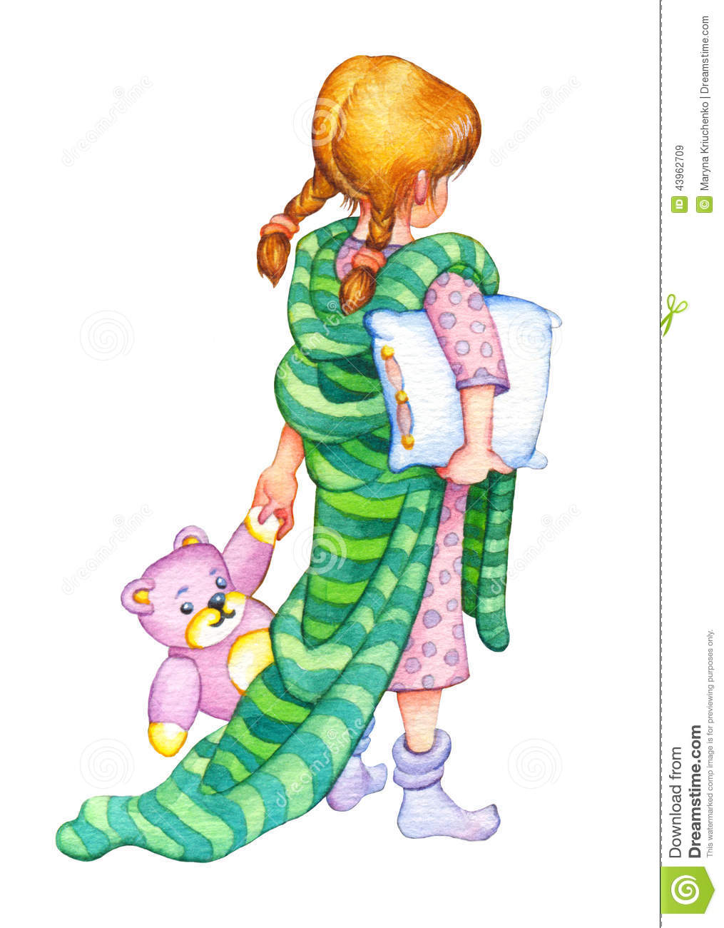 hight resolution of watercolor cute drawing in style of book illustration isolated on white background girl in a nightgown with a blanket over her shoulders a pillow under